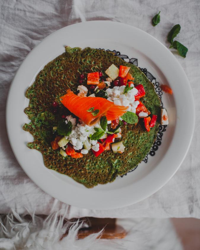 Pinaattiletut I Terveellinen I Ruoka I Resepti I Ohje I Kevyt i Lohi I Helppo ruoka I Arkiruoka i Spinach crepes I Smoked salmon I Recipe I Food photography